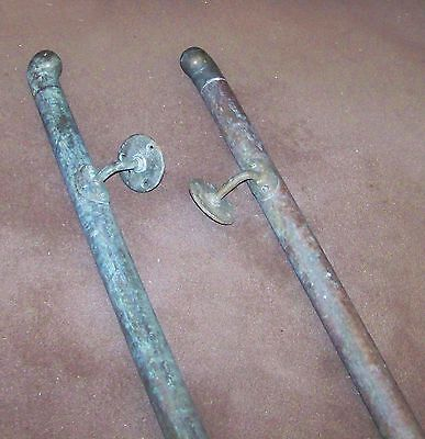 2 ANTIQUE STAIRCASE SAFETY HAND GRAB RAILINGS VINTAGE COPPER BRONZE BRASS 12ft L