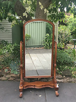 Fabulous Large Antique Victorian Mahogany Cheval Mirror!
