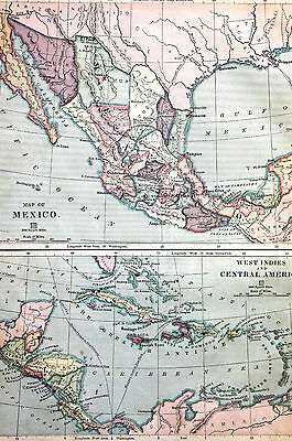 Antique Map of MEXICO CENTRAL AMERICA - Lower California Honduras 1883 Matted