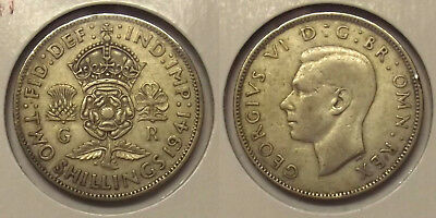 1941 GREAT BRITAIN TWO SHILLINGS SILVER (2sh) COIN