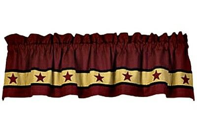 New Primitive Country Red CRANBERRY APPLIQUE STAR VALANCE Curtains