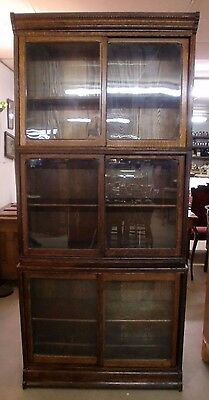 Danner Oak Stacking Bookcase Sliding Doors Old Wavy Glass Original Finish