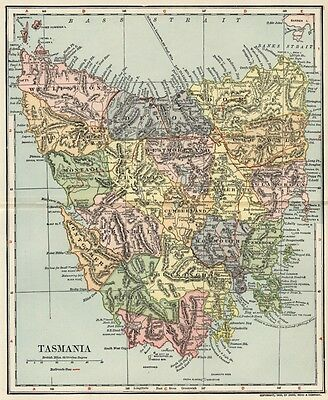 Tasmania Australia Map: Authentic 1903 (Dated) Towns, Counties, RRs: Detailed