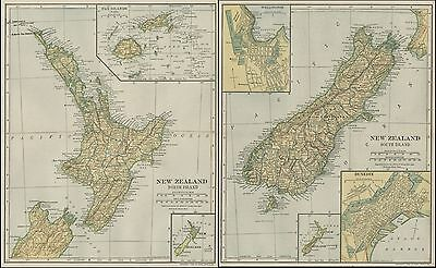 TWO New Zealand Maps: North & South Island; 1906 (Dated) Cities, Topography, RRs