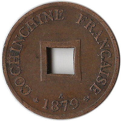 1879 (A) French Cochin China 2 Sapeque Coin KM#2