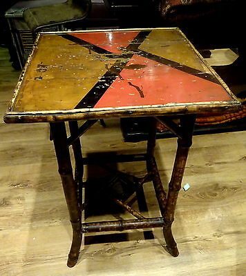 Antique Aesthetic Bamboo Table Liberty Style Handpainted