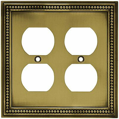 64767 Tumbled Antique Brass Beaded Double Duplex Outlet Cover Plate