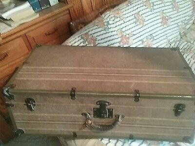 Vintage  hard case.  Wood trunk . Suitcase. 28x18x9