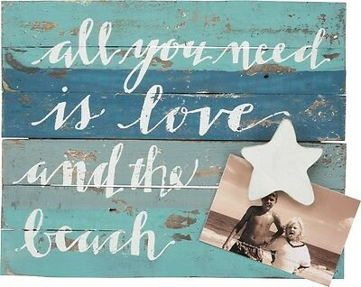 """NEW!~Wood Slat Photo Board Sign~""""ALL YOU NEED IS LOVE AND THE BEACH""""~Weathered"""