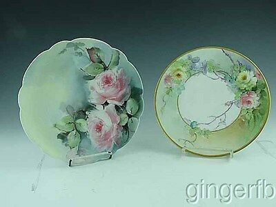 2 Antique Bavaria Bavarian Hand Painted Cabinet Plates Pink Roses