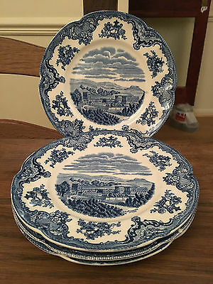 "Set of Four Johnson Brothers 7 7/8"" side plates in Old Britain Castles Blue"