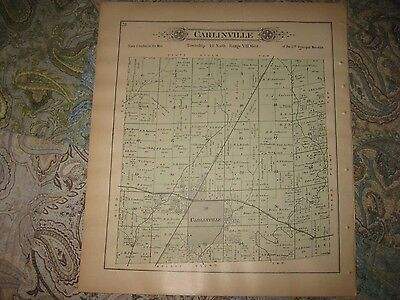 Antique 1893 Shaws Point Carlinville Township Macoupin County Illinois Map Rare
