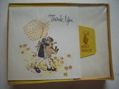 1970's Holly Hobbie w cat Box of 10 Thank you  greeting cards  unused vintage