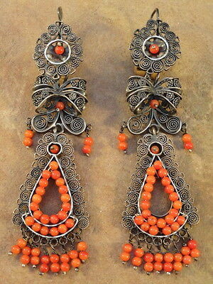 Mexican Mexico Sterling Silver & Coral Frida Earrings