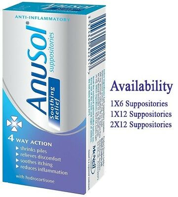 Anusol suppositories Soothing Relief 4 Way Action Hydrocortisone Var. Pack & Qty