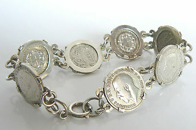 SILVER STERLING 1977 P&RB BIRMINGHAM HM ENGLISH COINS x 7 CHAIN BRACELET BANGLE