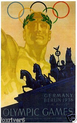 OLYMPICS Berlin 1936 Window Poster Summer Olympic Games - reprint