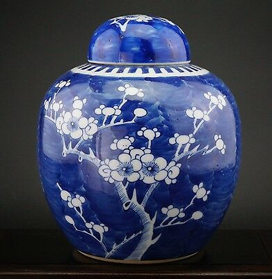 LARGE Antique 19th C Chinese Blue and White Porcelain Prunus Vase & Cover KANGXI