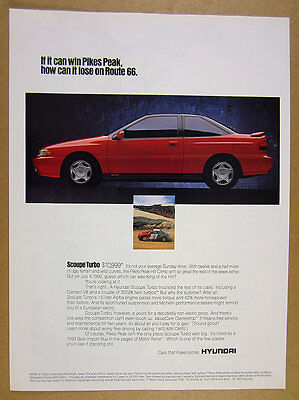 1993 Hyundai Scoupe Turbo red car photo vintage print Ad