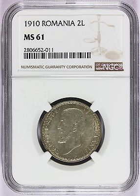 1910 Romania 2 Lei Silver Coin - NGC MS 61 - KM# 43 - Low Mintage