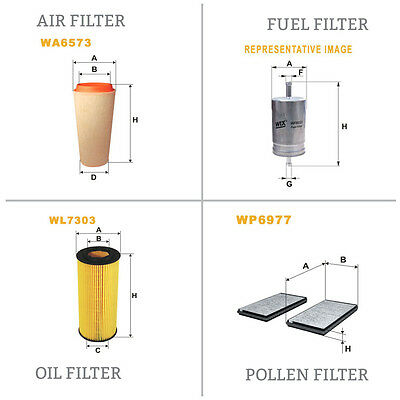 WIX Air le Pollen Huile & Carburant Kit Filtre Wa6573,Wp6977,Wl7303,Wf8365