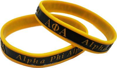 "Alpha Phi Alpha 2-Tone Color Silicone Bracelet [2-Pack - Black/Gold - 8""]"