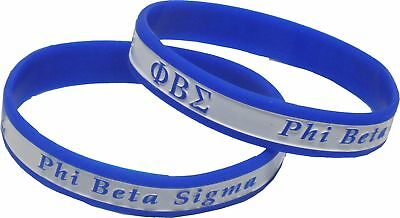 "Phi Beta Sigma 2-Tone Color Silicone Bracelet [2-Pack - Blue/White - 8""]"