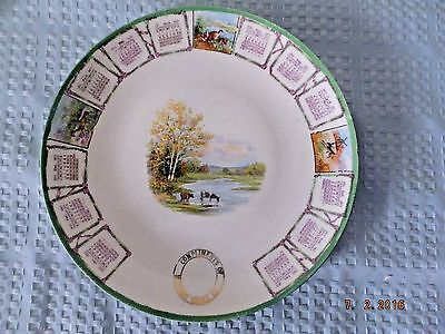 Malden China Co. 1911 Calendar Plate Complimentary Plate Pastoral Cattle Scene