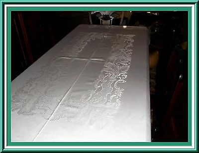 Fantastic Vintage White Damask Tablecloth With Great Design & Condition 1950's