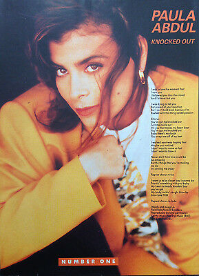 PAULA ABDUL. KNOCKED OUT - 1 PAGE LYRICS POSTER FROM 1980s No1 MAGAZINE