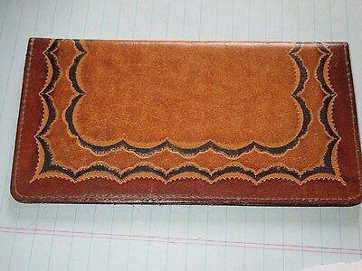 Vintage Stamped/Tooled Leather Checkbook Cover Western Cowboy Nice