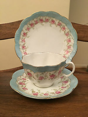 Tea cup Trio White & Turquoise with Pink Flowers Gold Scalloped Edge bone china
