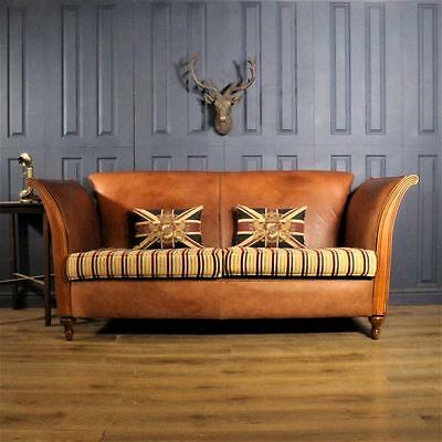 Leather 3 Seater Sofa Derwent fabric club Suite tan Chair Vintage Chesterfield