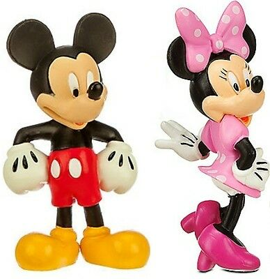 MICKEY & MINNIE MOUSE 2 Figure Set WALT DISNEY PVC Birthday Wedding CAKE TOPPER!