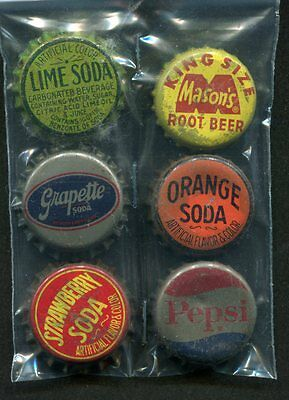6 Cork Back Soda Bottle Caps Pepsi Grapette Masons's Root Beer Orange Strawberry