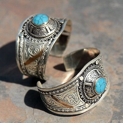 BRACELET Pair (2pc) Turkman Tribal Dance Real TURQUOISE BellyDance 501c55