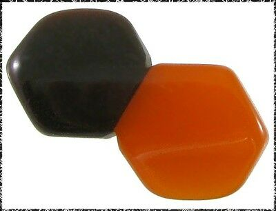 Vintage Art Deco 2-Color Bakelite Button - Orange & Brown Hexagons