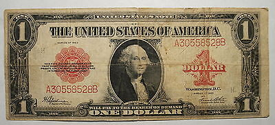 1923  US Large Size 1$ One Dollar United States Note RED SEAL, Fine+