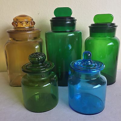 Vintage Colored Glass Apothecary Jar Lot Ground Lids Italy