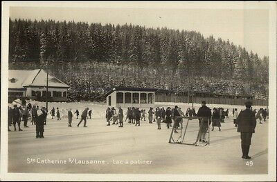 Ice Skating & Hockey - Ste. Catherine s/ Lausanne Switz Real Photo Postcard