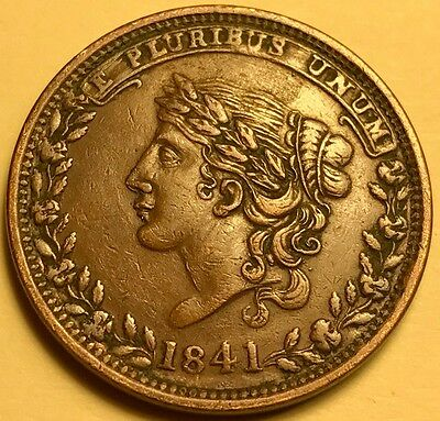 """Hard Times Token - 1841 - """"Millions For Defence"""" - HT-48 - Low 33 - Extra Fine +"""