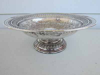 Vintage BARKER ELLIS Silver Pierced ENGRAVED Footed Bowl Compote 9 1/2""
