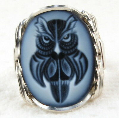 Owl Black Agate Oval Stone Cameo Ring .925 Sterling Jewelry Any Size 1.58 CT