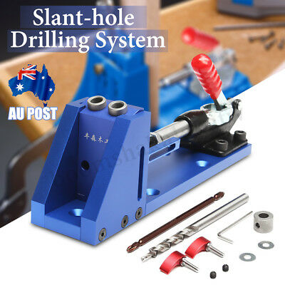Portable Pocket Hole Drill Jig System Woodworking Joinery Drilling Guide Tool