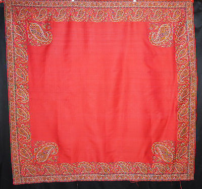 ANTIQUE PAISLEY SHAWL 1860's INDIA TIGHT WEAVE LOOMED WOOL RED CENTER