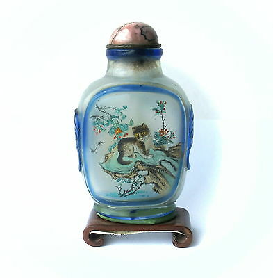 Vtg Chinese Reverse Painted Cobalt Peking Cameo Glass Snuff Bottle Cat Tiger