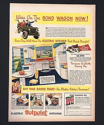 1943 WW II Hotpoint Kitchen Advertisement Original War Bond Print AD
