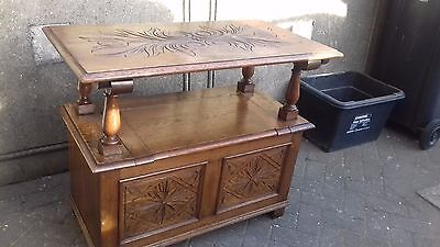 Antique Small Carved Oak Monks Bench / Settle / Hall Chair / Seat