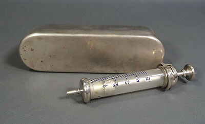 Wwii German Medical Surgical Glass Syringe & Brass Sterilizer Container Case Set