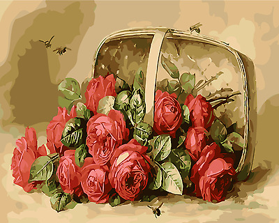 Framed Painting by Number kit A Basket of Red Roses Flowers FLoral Plant MB7044